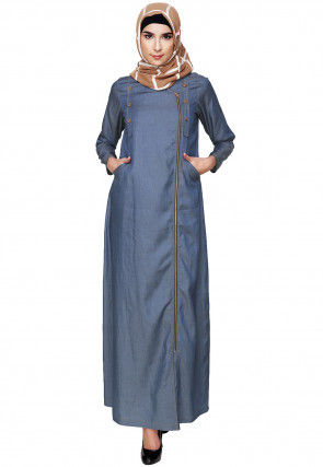 Plain Denim Front Open Abaya in Blue