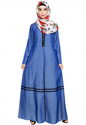 Plain Denim Pleated Abaya in Blue