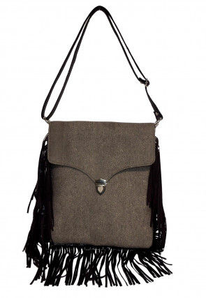 Plain Denim Sling Bag in Grey