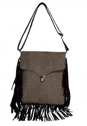 Plain Denim Sling Bag in Grey