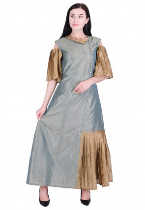 Plain Dupion Silk A Line Dress in Teal Blue