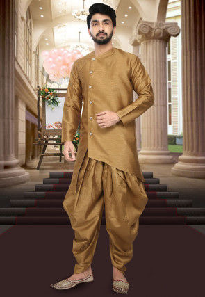 Plain Dupion Silk Asymmetric Dhoti Kurta in Dark Beige