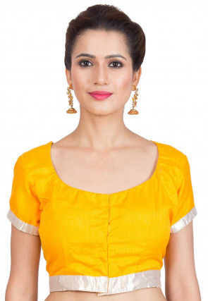 Plain Dupion Silk Blouse in Yellow