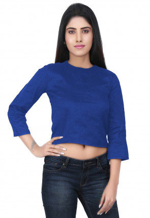 Plain Dupion Silk Crop Top in Dark Blue