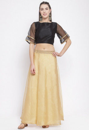 Plain Dupion Silk Crop Top Set in Black