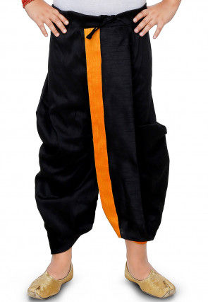 Plain Dupion Silk Dhoti in Black