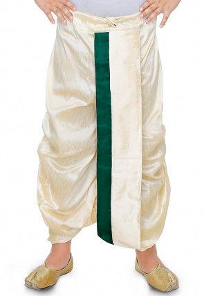 Plain Dupion Silk Dhoti in Cream