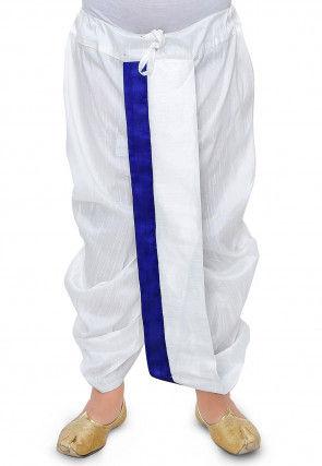 Plain Dupion Silk Dhoti in White