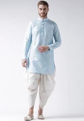 Plain Dupion Silk Dhoti Kurta in Sky Blue