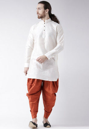 Plain Dupion Silk Dhoti Kurta in White