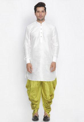 Plain Dupion Silk Dhoti Kurta in White