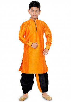 Plain Dupion Silk Dhoti Kurta Set in Mustard