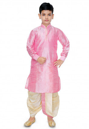 Plain Dupion Silk Dhoti Kurta Set in Pink