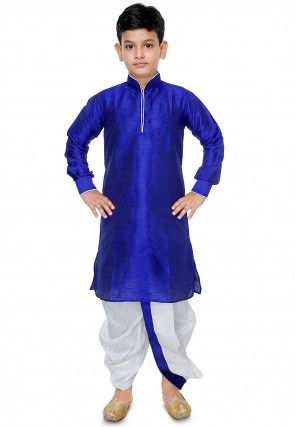 Plain Dupion Silk Dhoti Kurta Set in Royal Blue