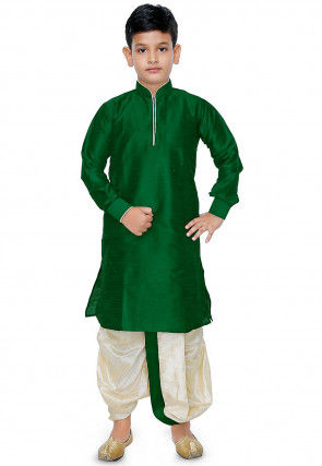 Plain Dupion Silk Dhoti Kurta Set in Green
