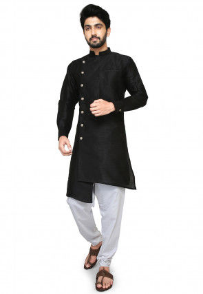 Plain Dupion Silk Jodhpuri Suit in Black