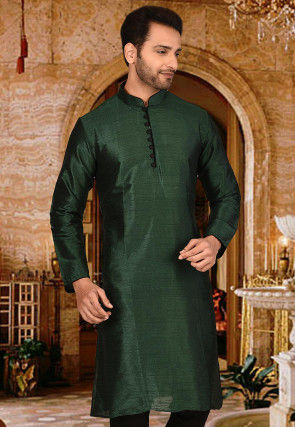 Plain Dupion Silk Kurta in Dark Green