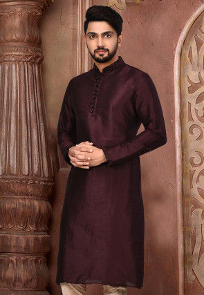 Plain Dupion Silk Kurta in Wine