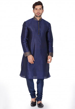 Plain Dupion Silk Kurta in Navy Blue