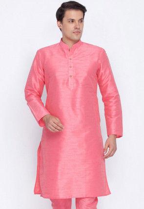 Plain Dupion Silk Kurta in Pink