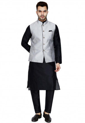 Plain Dupion Silk Kurta Jacket Set in Black and Grey