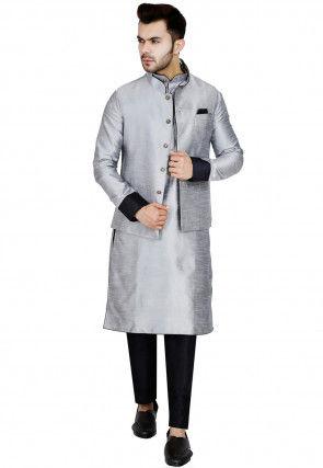 Plain Dupion Silk Kurta Jacket Set in Light Grey