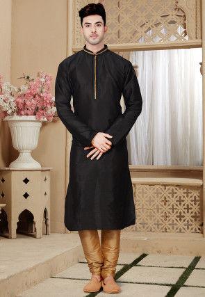 Plain Dupion Silk Kurta Pajama in Black