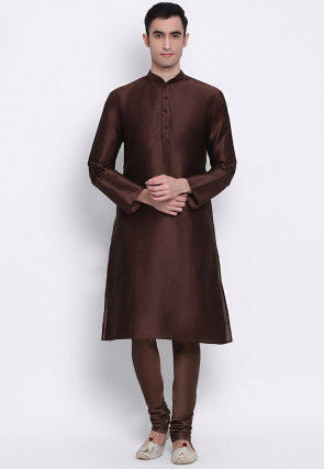 Plain Dupion Silk Kurta Set in Dark Brown