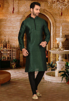 Plain Dupion Silk Kurta Set in Dark Green