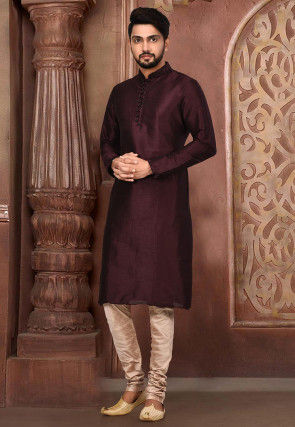 Plain Dupion Silk Kurta Set in Dark Maroon