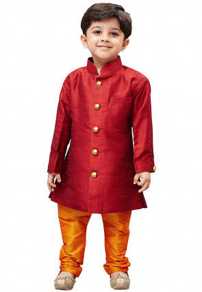 Plain Dupion Silk Kurta Set in Maroon