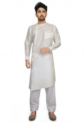 Plain Dupion Silk Kurta Set in Off White