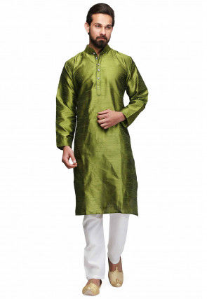 Plain Dupion Silk Kurta Set in Olive Green