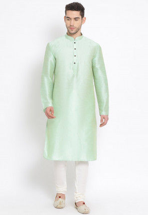 Plain Dupion Silk Kurta Set in Pastel Green