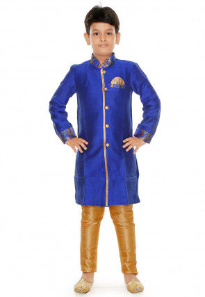 Plain Dupion Silk Kurta Set in Royal Blue