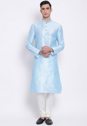 Plain Dupion Silk Kurta Set in Sky Blue