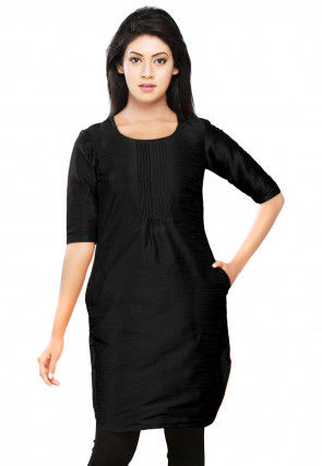 Plain Dupion Silk Kurti in Black
