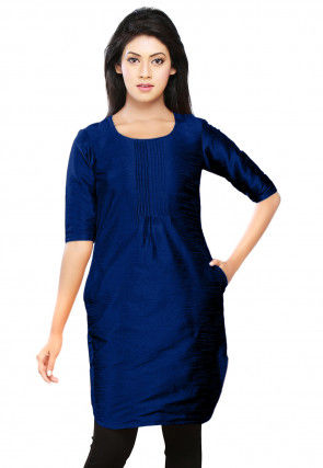 Plain Dupion Silk Kurti in Royal Blue