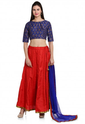 Plain Dupion Silk Lehenga in Red