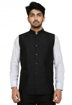 Plain Dupion Silk Nehru Jacket in Black