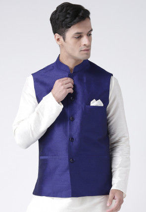 Plain Dupion Silk Nehru Jacket in Indigo Blue