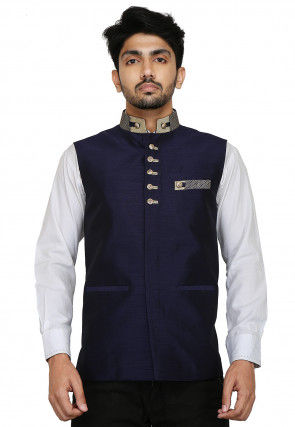 Plain Dupion Silk Nehru Jacket in Navy Blue