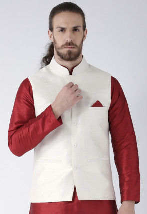 Plain Dupion Silk Nehru Jacket in Off White