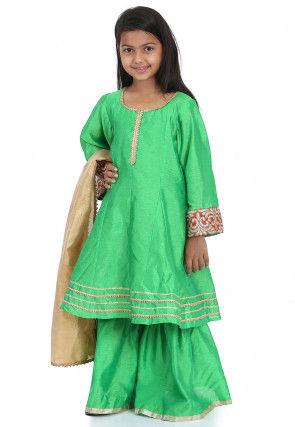 Plain Dupion Silk Pakistani Suit in Light Green