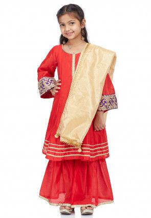 Plain Dupion Silk Pakistani Suit in Red