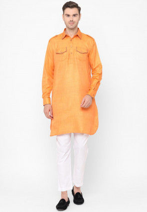 Plain Dupion Silk Pathani Kurta Set in Orange