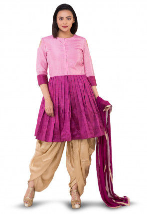 Plain Dupion Silk Punjabi Suit in Pink and Magenta