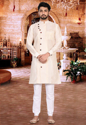 Plain Dupion Silk Sherwani in Cream