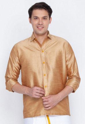 Plain Dupion Silk Shirt in Beige
