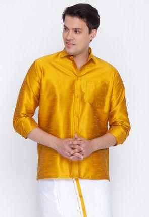Plain Dupion Silk Shirt in Mustard